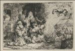 angel art - the angel asceding from tobit and his family by rembrandt van rijn
