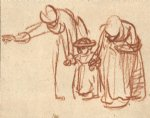 women art - two women teaching a child to walk by rembrandt van rijn