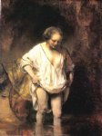 rembrandt van rijn woman bathing in a stream painting