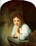 young girl in the window by rembrandt van rijn painting