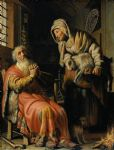 rembrandt artwork - tobit and anna with a kid by rembrandt