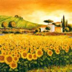 richard leblanc valley of sunflowers painting