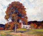autumn hillside & my studio by robert vonnoh painting