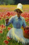 girl with poppies by robert vonnoh painting