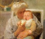 baby famous paintings - the baby s bottle by robert vonnoh
