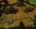 cow art - cows in a meadow by roger de la fresnaye