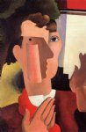 roger de la fresnaye art - man with a red kerchief by roger de la fresnaye