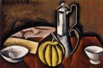roger de la fresnaye art - still life with coffee pot and melon by roger de la fresnaye
