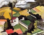 roger de la fresnaye art - the factory chimney meulan landscape by roger de la fresnaye