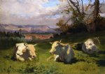 cows resting by rosa bonheur painting