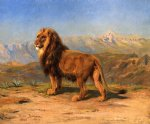 rosa bonheur watercolor paintings - lion in a mountainous landscape by rosa bonheur