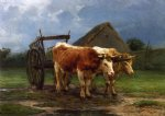 oxen pulling a cart by rosa bonheur acrylic paintings