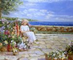 sally swatland art - afternoon on the terrace by sally swatland