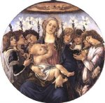 angel art - madonna and child with eight angels by sandro botticelli
