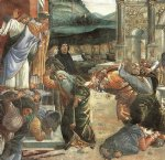 sandro botticelli acrylic paintings - the punishment of korah and the stoning of moses and aaron detail 2 cappella sistina vatican by sandro botticelli