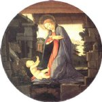sandro botticelli watercolor paintings - the virgin adoring the child by sandro botticelli