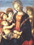 angel art - the virgin and child with two angels and the young st john the baptist by sandro botticelli