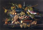 severin roesen elaborate still life with silver basket of plums painting 25111