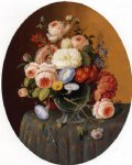 severin roesen floral arrangement in a glass vase on a clothed table painting