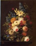 floral original paintings - floral still life with nest of eggs by severin roesen
