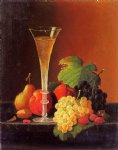 severin roesen fruit and a glass of champagne on a tabletop painting
