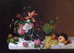 severin roesen fruit and flowers on a marble table ledge painting 25120