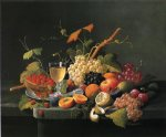 wine print - fruit on a marble ledge with wine glass by severin roesen