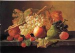 severin roesen fruit on a marble ledge painting