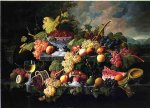 wine print - fruit still life with wine glass in a landscape by severin roesen