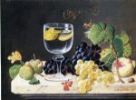 severin roesen acrylic paintings - plums waterglass and peaches by severin roesen