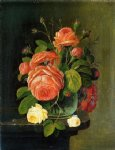 severin roesen acrylic paintings - roses on a tabletop by severin roesen