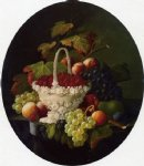severin roesen acrylic paintings - still life with basket of strawberries by severin roesen