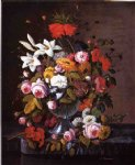 severin roesen acrylic paintings - still life with flowers ii by severin roesen