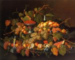 severin roesen acrylic paintings - still life with fruit and champagne ii by severin roesen
