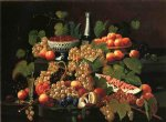 severin roesen still life with fruit and champagne iv painting 25153