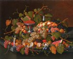 severin roesen still life with fruit and champagne painting 25154