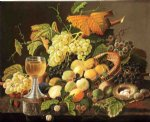 wine print - still life with fruit bird s nest and wine glass by severin roesen