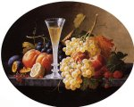 wine print - still life with fruits and wine glass by severin roesen