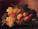severin roesen still life with peaches grapes and a pear painting 25179