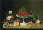 severin roesen still life with strawberries and goblet of flowers painting 25181