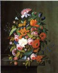 severin roesen summer flowers in a glass bowl ii painting 25186