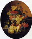 two tiers of fruit with a compote of strawberries by severin roesen painting
