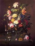 severin roesen vase of flowers in footed glass bowl with bird s nest painting
