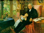 sir john everett millais acrylic paintings - james wyatt and his grandaughter mary by sir john everett millais