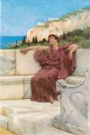 sir lawrence alma tadema art - a female figure resting by sir lawrence alma tadema