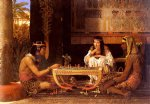 egyptian watercolor paintings - egyptian chess players by sir lawrence alma tadema