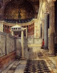 sir lawrence alma tadema watercolor paintings - interior of the church of san clemente rome by sir lawrence alma tadema