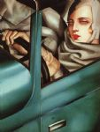 self portrait in green bugatti by tamara de lempicka painting