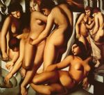 women at the bath by tamara de lempicka painting