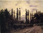 theodore clement steele art - evening poplars and roadway near schleissheim by theodore clement steele